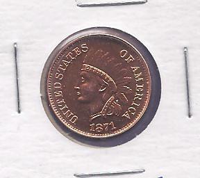 1871  Indian  BU Replica Copper  copy 1REFCO