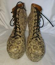Jeffrey Campbell Tan Leather Snake Look Lita -Ex Boots Sz 9.5 EUC - $49.99