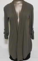 Bobeau Brown Open Flare Roll Collar Adjustable Sleeve Cardigan Sweater - $13.95