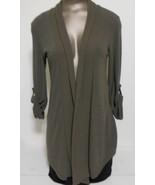 Bobeau Brown Open Flare Roll Collar Adjustable Sleeve Cardigan Sweater - $13.95