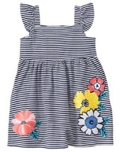 Gymboree Tropical Breeze Floral Striped Dress Navy Blue Tropical Flowers... - $12.99