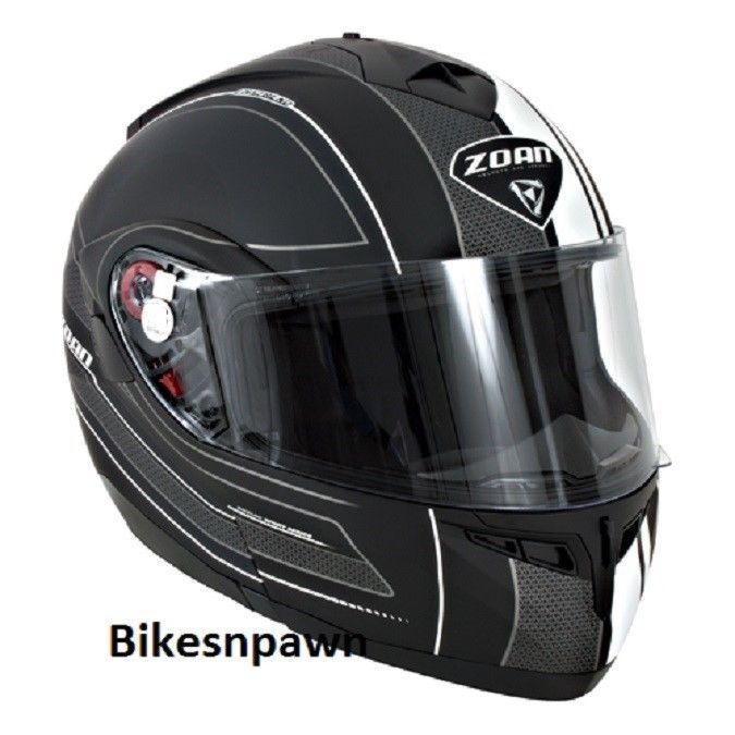 New XS Zoan Optimus Black & White Raceline Modular Motorcycle Helmet 138-193