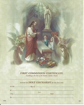 FIRST HOLY COMMUNION Certificate Jesus with Boy and Girl Catholic pictur... - $14.01