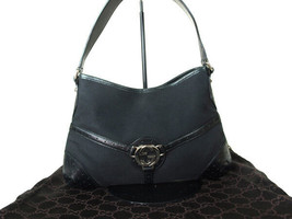 Authentic GUCCI GG Logo Canvas, Leather Black Shoulder Bag GS4849L - $255.00