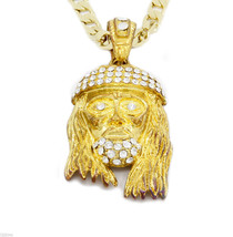 "Gold Plated Iced Out Cz Jesus Pendant Hip-Hop 24"" Cuban necklace Chain  ... - £10.53 GBP"