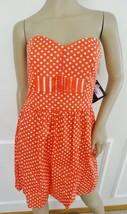 Nwt BeBop Cotton Summer Fit & Flare Dress Sundress Sz M Medium Red Polca... - €19,36 EUR
