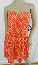 Nwt BeBop Cotton Summer Fit & Flare Dress Sundress Sz M Medium Red Polca... - $21.73