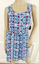 Nwt BeBop Chiffon Summer Fit & Flare Tank Dress Sundress  Sz M Medium Bl... - $21.73