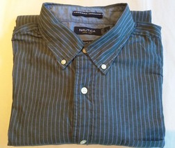 NAUTICA - Gray with Blue Pin Stripes Dress Shirt - Men's Size: LARGE Classic Fit - $20.10