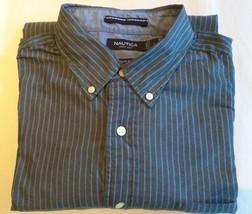 NAUTICA - Gray with Blue Pin Stripes Dress Shirt - Men's Size: LARGE Cla... - $20.10