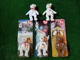 Lot of 6 ty Beanie Babies Britannia, Glory, Maple the Bear Rare Tag Errors - $18.69