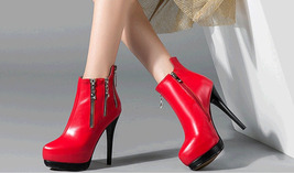 PB167 awesome zipper Martin booties, genuine leather, size 4-8.5, red - $99.80