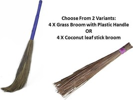 Jhadu Indian Traditional Home Cleaning Broom 2 Variants Set of 4 Assorte... - $62.00