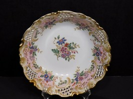 Beautiful Andrea by Sadek Japan Floral Reticulated Rim with Gold Trim Bowl - £22.78 GBP