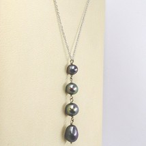 NECKLACE WHITE GOLD 18K, PENDANT PEARLS BLACK, ROUND OVAL AND DROP, CHAIN ROLO' image 2