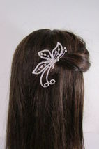 Women Silver Metal Head Fashion Jewelry Butterfly Hair Pin Bridal Wedding Party image 8