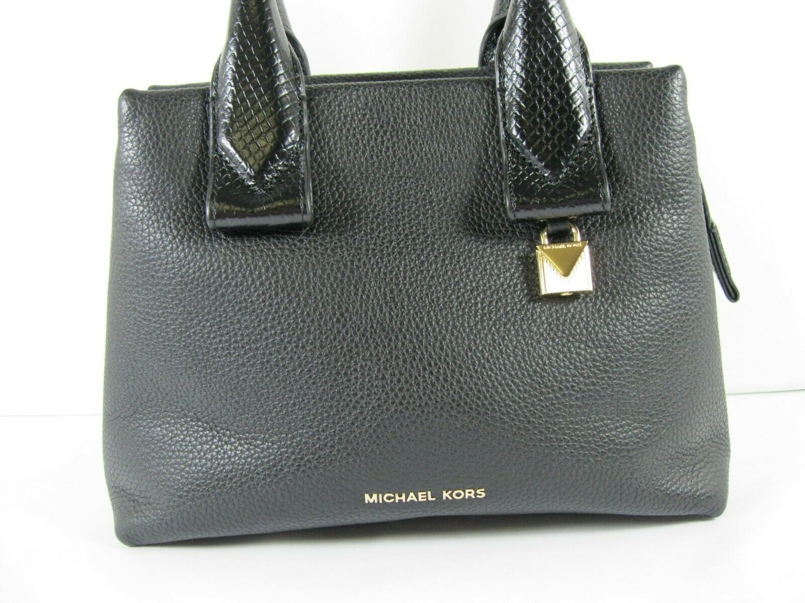Michael Kors NEW Black Leather Crossbody Messenger Hand Bag Pebbled Gold X image 2