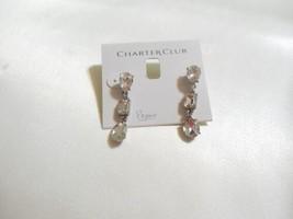 "Charter Club 1-1/2"" Silver-Tone Crystal Linear Drop Earrings A100 - $11.51"