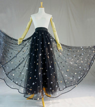 BLACK MAXI Tulle Skirt Women Black Bling Party Prom Skirt High Waist Plus Size  image 2