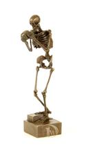 Antique Home Decor Bronze Sculpture shows skeleton holds skull, signed *... - $199.00