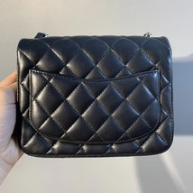 NEW AUTHENTIC CHANEL BLACK QUILTED LAMBSKIN SQUARE MINI CLASSIC FLAP BAG SHW image 3