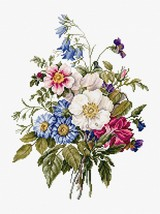 An item in the Crafts category: Counted Cross Stitch Embroidery Kit Beautiful Bouquet of Summer Flowers