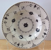 RARE Johnson Brothers Black Denmark Rimmed Soup Bowl Floral Fluted Rim E... - $28.04