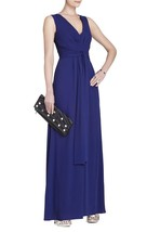 Auth Bcbg Maxazria Norah V-Neck Tie-Waist Long Dress In Blue - $70.05