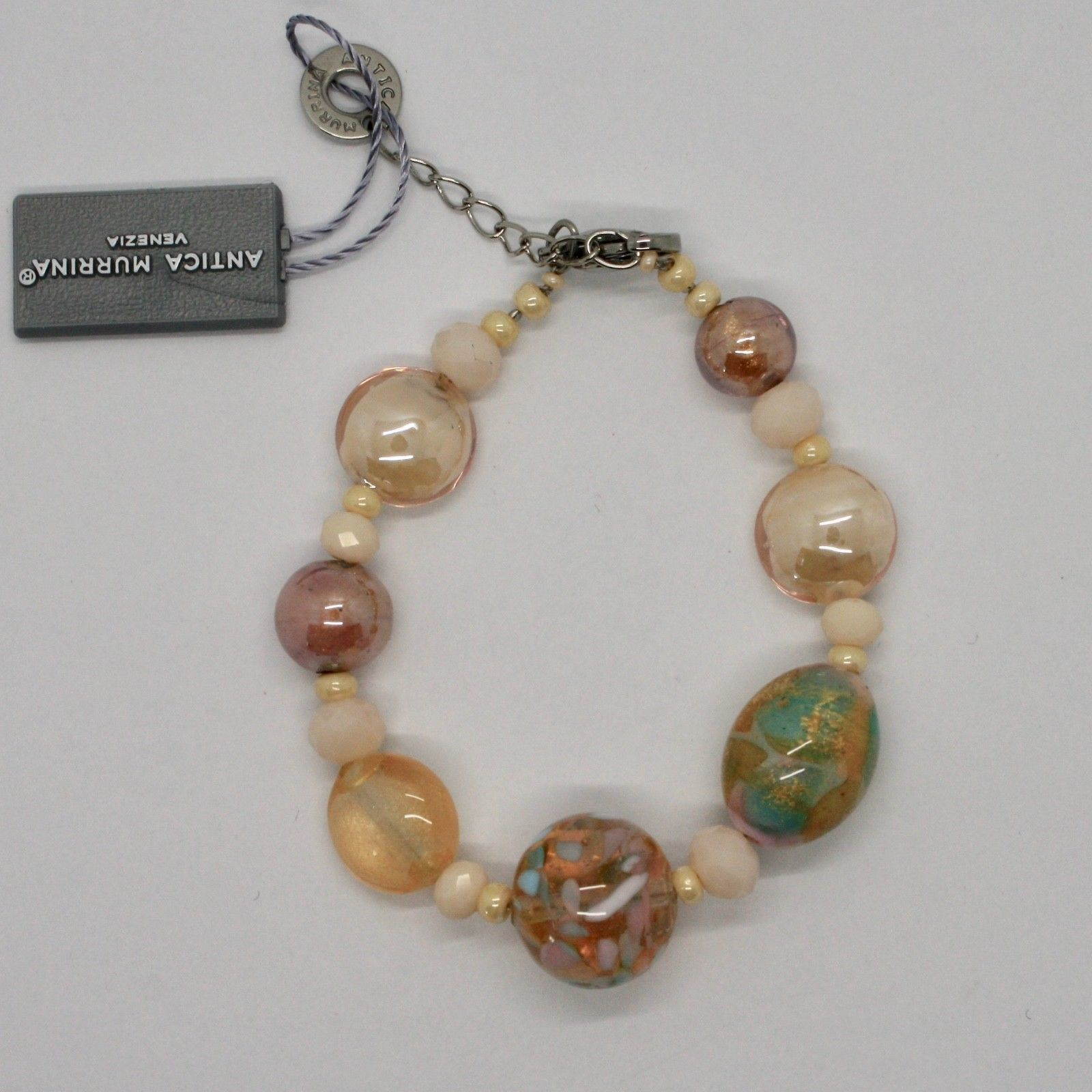 BRACELET ANTICA MURRINA VENEZIA WITH MURANO GLASS BEIGE PINK YELLOW BR796A03