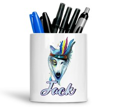 Personalised Any Text Name Ceramic Fox Pencil Pot Gift Idea Kids Adults 08 - $12.89