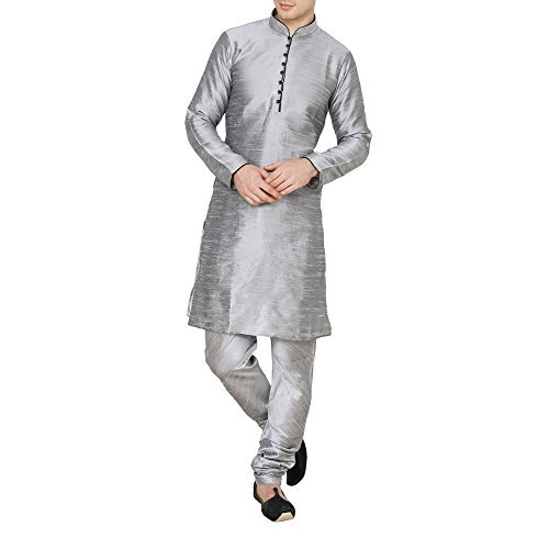 Primary image for Royal Kurta Men's Silk Blend Loop Button Kurta Churidar Set 36 Silver