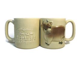 Set of 2 Otagiri 1981 Cow Animal  Farm Pasture 3D Coffee Mug Cup 10 Oz - $59.40