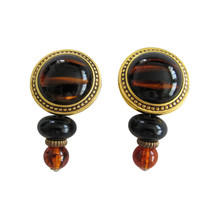 Ben-Amun Gold Tone & Tortoise Lucite Dangle Earring Clips - $78.00