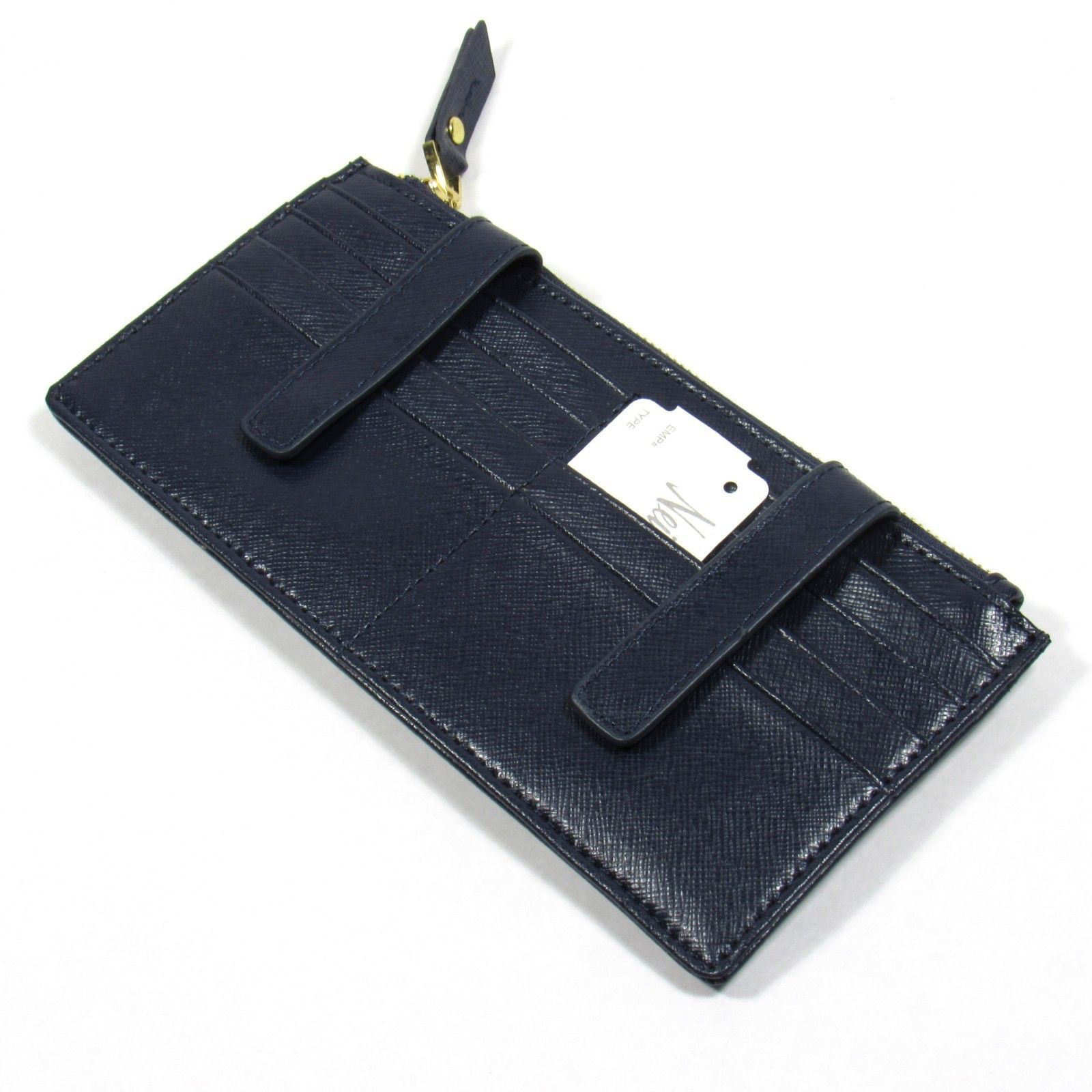 Neiman Marcus Women's ID Wallet Organizer Card Case.Saffiano Leather. Navy Blue