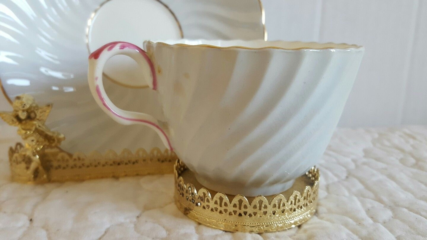 Vintage Aynsley Spring Blossom Swirl Design Gold Trim Tea Cup and Saucer
