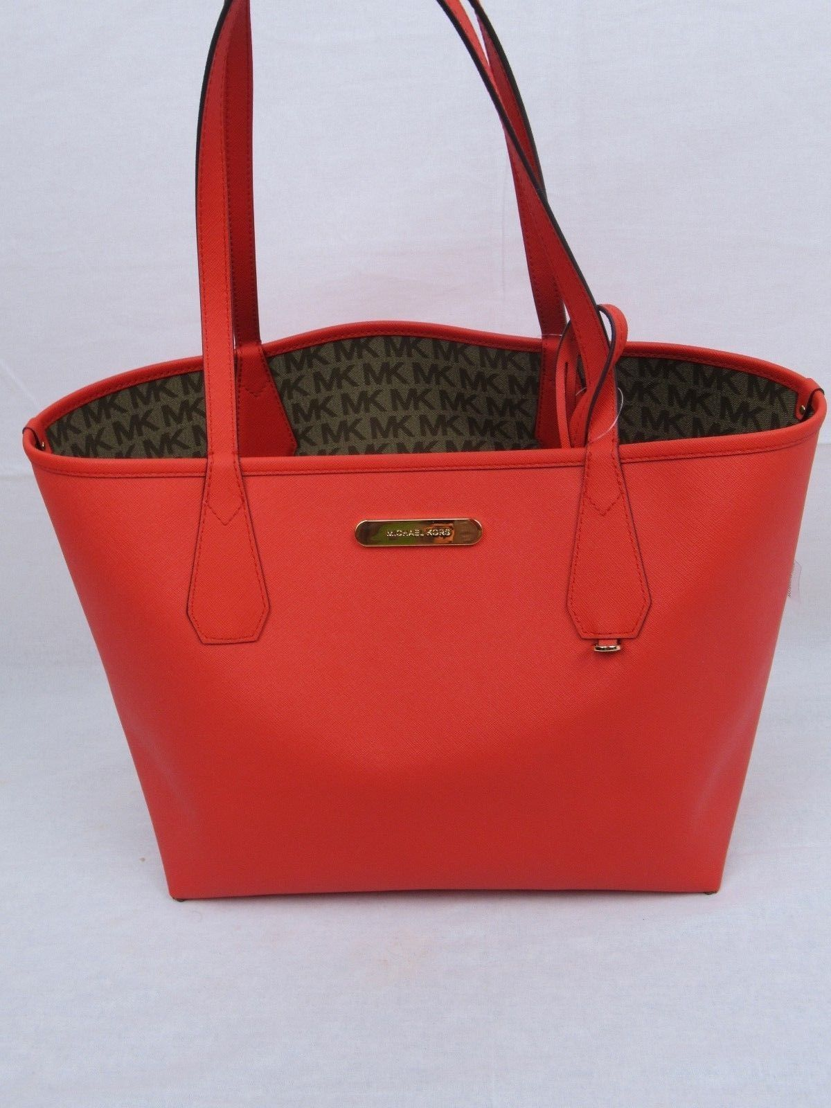 a0ffbfed9092 NWT MICHAEL KORS SIGNATURE CANDY LARGE REVERSIBLE TOTE BAG IN BG/EB/DK  SANGRIA