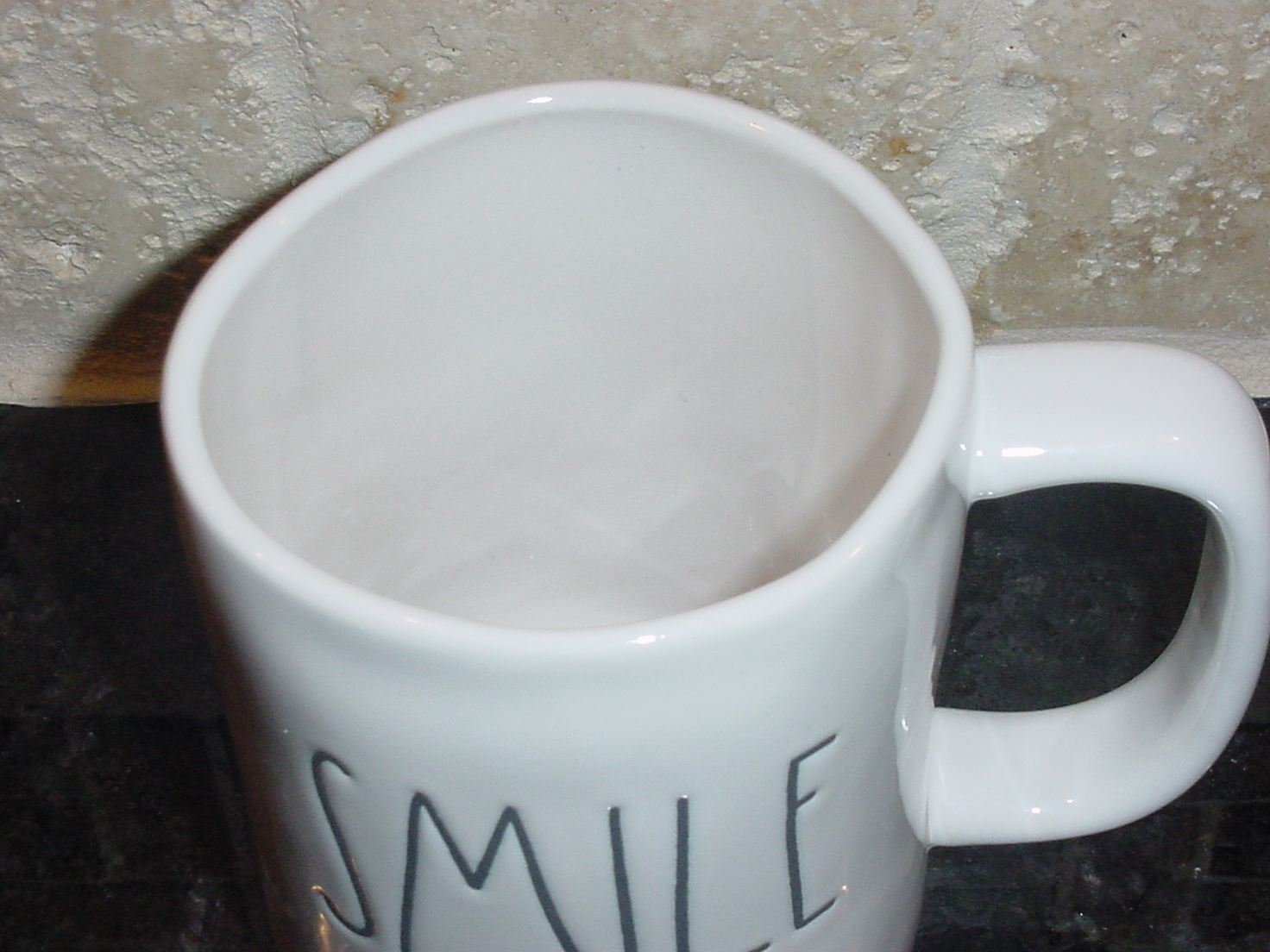 Rae Dunn SMILE Rustic Mug, Ivory with Black Letters, New!