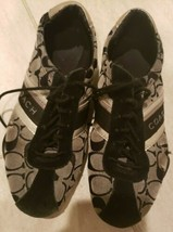 Coach Jayme Q582 Casual Shoes Black Silver Coach Sneakers Womens Size 7.5 M - $37.39