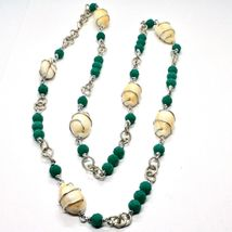 NECKLACE THE ALUMINIUM LONG 90 CM WITH SHELL AND CRYSTALS STRASS GREEN image 5