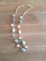 Gray Green Gemstone and Silver Beaded Necklace - $18.00