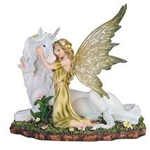 StealStreet SS-G-91851, 7 Inch Green Fairy Kneeling with White Unicorn Statue Fi - $42.90