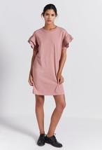 IR Current Elliott T Shirt Dress Ruffles Sleeves CARINA Nectar Pink Cott... - $17.65