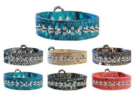 DRAGON SKIN LEATHER Dog Collar * 2 Rows Clear Crystals & Spikes Puppy Pu... - €36,90 EUR+