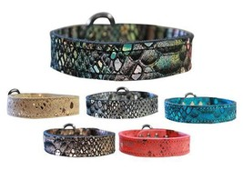 DRAGON SKIN GENUINE LEATHER Dog Collar * Plain & Simple Puppy Pet Punk Wear - €10,53 EUR+