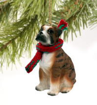 BOXER (NATURAL EARS) DOG CHRISTMAS ORNAMENT HOLIDAY XMAS Figurine Scarf ... - $9.50