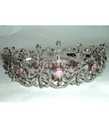 Royal Victorian INSP 10.35CT Rose Cut Diamond 925 Silver Ruby Tiara Crow... - $1,515.19