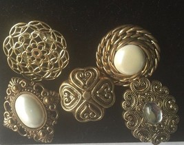 Jewelry Button Covers Faux Pearl Gold Set of 5  Antique - $24.70