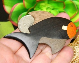 Vintage Fish Brooch Pin Wooden Wood Inlay Carved Handcrafted Figural image 6