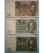 Germany (6) Bank Currency Notes from 1929 to 1942 - $19.80