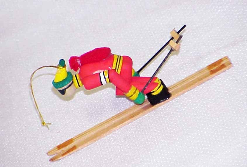 Primary image for Vintage Wood Christmas Ornament - Downhill Skier - Taiwan - NOS in Orig Box